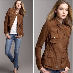 Vince Brown Suede Utility Jacket leather